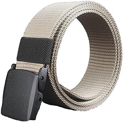 zolimx Cinturones de hombre, Color sólido plástico correa de lona automático hebilla