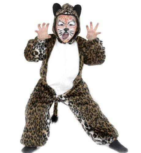 Leopard Tiger Overall Leo Püsch 1tlg. mit Kapuze Kinder Tier Kostüm Gr: 98 - 128 (98)