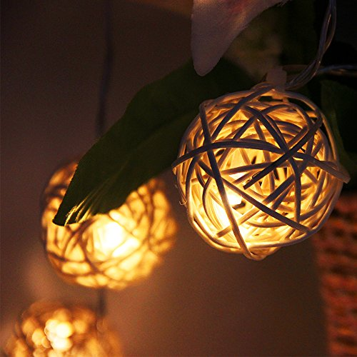 Fairy Lights/Zilong Rattan Ball String Lights/Christmas Lights with 20 Warm White LEDs on 2.2M ...