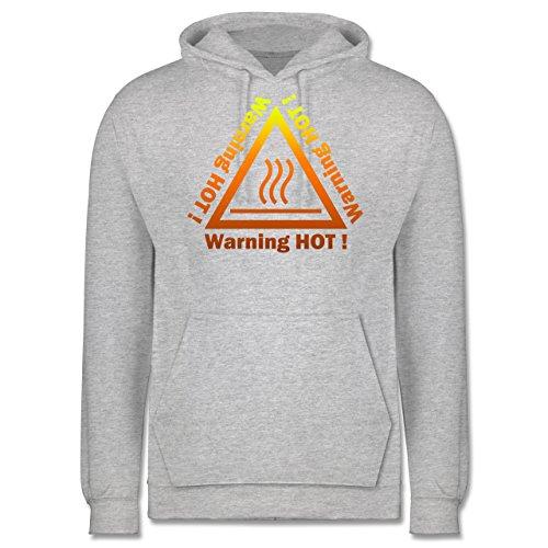 Sprüche - Warning hot - Männer Premium Kapuzenpullover / Hoodie Grau Meliert