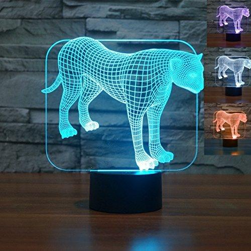 Mit Handschuhe Krallen Motorrad (3D leopard Glühen LED Lampe 7 Farben erstaunliche optische Täuschung Art Skulptur Ferneinstellung Lichter produziert einzigartige Lichteffekte und 3D-Visualisierung für Home Decor-kreative)