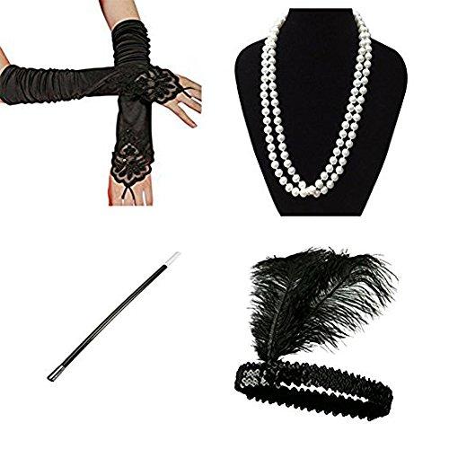r Set Flapper Kostüm für Damen InnoBase Roaring 20s Kostüme Stirnband Ohrringe Perlen Halskette Handschuhe Zigarettenspitze (A) (Roaring 20s Flapper Kostüm)