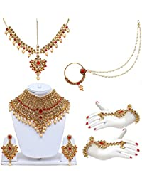 4b2e958fee34c2 Lucky Jewellery Lct Red Bridal Dulhan Wedding & Engagement Necklace Set  With Mang Tikka