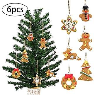 ZXYAN para la decoración de la Fiesta de Navidad 6 Piezas Adornos Colgantes del árbol de Navidad Lindo Hombre de Jengibre Campana pájaro pájaro