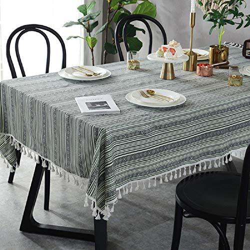 Vlunt Nappes Rectangulaires Carrees à Rayures Anti Taches, Fete Festives Nappes de Table en Lin Tissu à Gland Vintage - Céladon, G:140 * 200CM