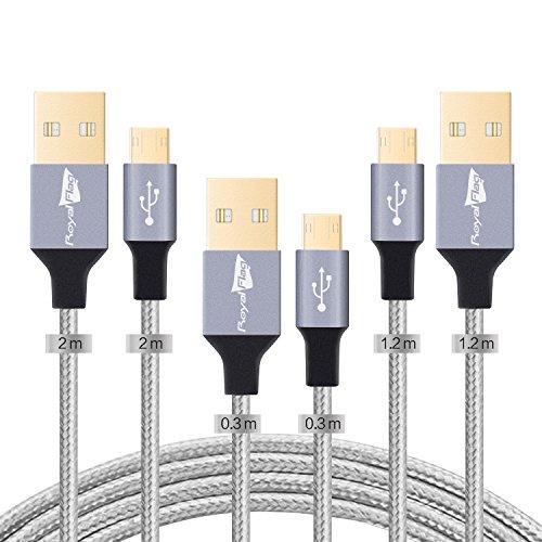 Rversibile Nylon Cavo Micro USB Android Cellulare 3 Pack Royal Flag Cavi Micro USB Trasmissione Dati e Ricarica Rapida per Samsung Galaxy,Huawei,Motorola,Nokia,HTC,Asus e altro [Pack di 3:1,2m*1+2m*1+0,3m *1]