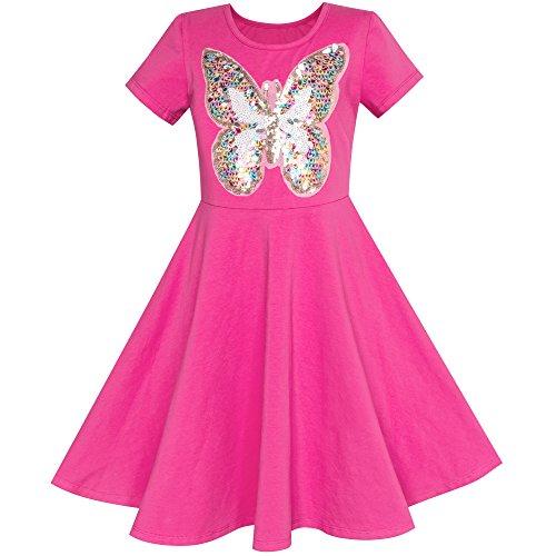 Rosa Schmetterling Pailletten Baumwolle Kleiden Gr. 134 (Kleid Mit Schmetterlingen)
