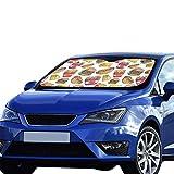 Autofenster Sonnenschutz Suv Fast Food Hamburg Pizza Fries Zeichnung Faltbarer Sonnenschutz Für maximalen UV- und Sonnenschutz Halten Sie Ihr Fahrzeug kühl 140 x 75 cm (55 x 30 Zoll) großer Sonnensch