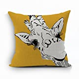 Nunubee Deer Sofa Cushion Cover Home Pillowcase Soft Decorative Pillow Cover Yellow