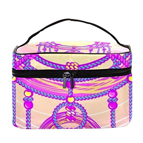 TIZORAX Atrapasueños mágico con Bolsa de cosméticos de Plumas Estuche de Viaje de Viaje Caja de Organizador de Maquillaje Grande