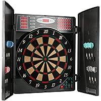 UItrasport Diana electrónica con puertas, diana clásica para 16 jugadores, juego de dardos con pantalla LED, 38 juegos y muchas variantes / diana con 12 dardos suaves y puertas