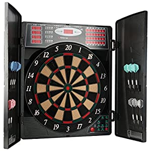 UItrasport Electronic Dartboard with Doors, Classic Darts for 16 players, Darts Game with LED Display, 38 games and plenty of variations / dartboard including 12 soft darts and closable doors