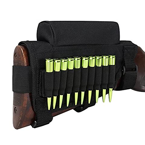 Tourbon Chasse Fusil Buttstock Cheek Riser munitions Laser support - noir