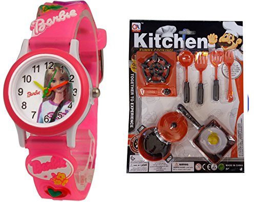 S S TRADERS - Kid's watches - Barbie Kids Analog Watch + Mini Kitchen Set for Kids-Best Return Gift for Kids  available at amazon for Rs.319