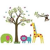 Winhappyhome Adesivi da Parete Giraffa Leone Scimmia Gufo Albero Adesivo da parete per cameretta bambini Camera da letto soggiorno TV sfondo rimovibile Decor decalcomanie