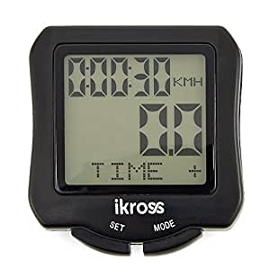 iKross Fahrradcomputer, kabelloser wasserdichter Kilometerzähler mit Hintergrundbeleuchtung und Bewegung-Sensor, Speedometer Uhr - Schwarz