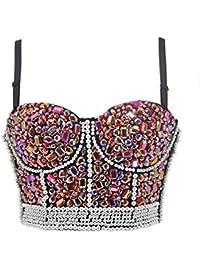 801043bcf713e1 Aiuem Damen Sexy Rosa Diamanten Bustiers Crop Top Push Up BH Gothic Plus  Größe