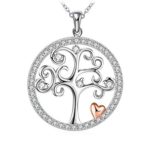 Collana Albero della Vita Donna , J.Rosée in Argento 925 con 5A Zirconi Buon Regalo Donna Regalo di Festa con Confezione Bella 45cm+5cm