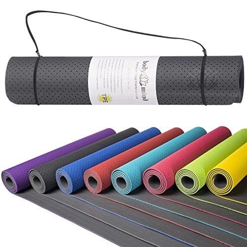 Body & Mind Yogamatte - umweltfreundliche, hypo-allergene Yoga TPE-Matte - extrem rutschfest, weich und schadstoff-frei - 183 x 61 x 0,5cm inkl. Trage...