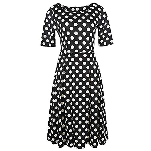 LOLIANNI Mode Frauen Vintage Kleid Damen Polka Dot Floral Bedruckte Midi Patchwork Taschen Kleid Puffy Swing Casual Party Dress