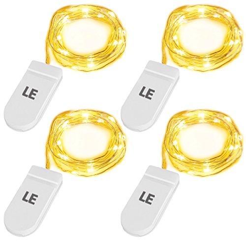 LE 4 Pezzi Luci Stringa a Batteria, LED Filo in Rame 20 Leds 1M - 1 M Camino