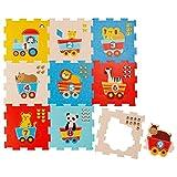 Bieco puzzelmat, 19 stuks. Speelmat voor baby's, XXL-puzzels, kinderspeelmat, kruipmat, kindermat, kindertapijt, kruipmat voor baby's, letters leren | speelmat voor jongen