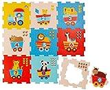 Bieco 19003763 - Puzzlematte Tiere und Zahlen, 9 Teile