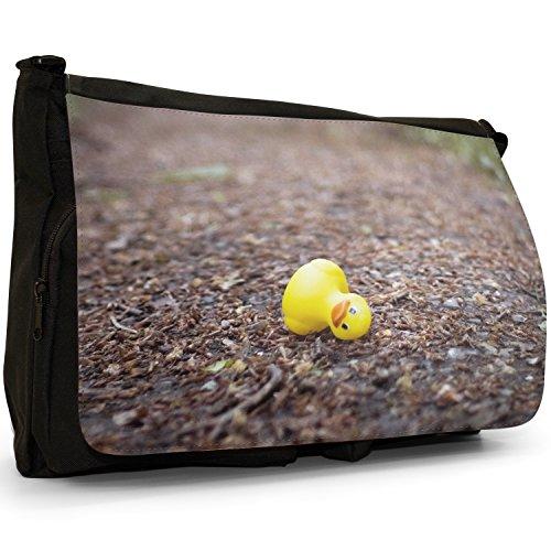 Lifetime-Paperelle di gomma per vasca da bagno Bubble, colore: nero, Borsa Messenger-Borsa a tracolla in tela, borsa per Laptop, scuola Nero (Rubber Duck Dropped In Park)