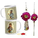Tied Ribbons Bhaiya Bhabhi Rakhi With Gift Tradional Lumba Rakhi For Bhai Bhabhi With Set Of 2 Printed Coffee Mug, Roli Chawal - Rakhi For Bhabhi