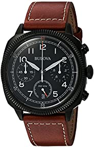 Bulova Military Men's UHF Watch with Black Dial Analogue Display and Brown Leather S