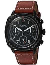 Bulova Military Men's Quartz Watch with Black Dial Analogue Display and Brown Leather Strap