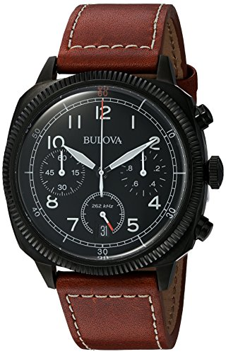 bulova-military-mens-quartz-watch-with-black-dial-analogue-display-and-brown-leather-strap