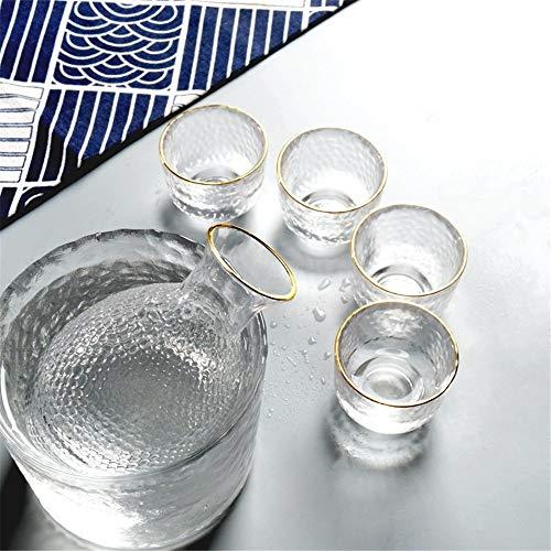 JIASHU 6-teiliges traditionelles Japanisches Sake-Set mit 1 Sake-Servierflasche, 1 Weinkühler und 4 Sake-Tassen - handgraviertes Design -