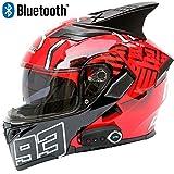 JohnnyLuLu Motorrad Full Face Racing Bluetooth Helm, Multifunktions Smart Helm Motorrad Modular...