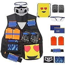 Kit gilet tattico per pistola Nerf, kit giacca N-Strike Elite con guanti rivetti - Occhiali protettivi - Maschera - Clip di ricarica - Cinturino da polso - Refill Bullets - Zaino Emoji