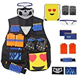 Kits de chaleco táctico para Nerf Gun, N-Strike Elite Jacket Kits Rivet Gloves, Gafas, Máscara, 6-Dardos Reload Clips, Hand Wrist Band, Rellenar Bullet Darts, Backpack