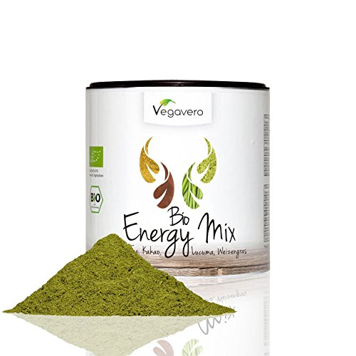 BIO Superfood Mix ENERGY | 200g | Schadstoff-geprüft | Matcha - Lucuma - Weizengras - Kakaopulver | OHNE Zusatzstoffe | Vegan | Vegavero: from Nature - with Passion - for You!