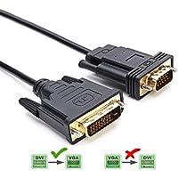 DVI a VGA, CableDeconn 2M DVI 24 + 1 m DVI-D a VGA Macho con Chip Adaptador Activo Cable convertidor para PC DVD Monitor HDTV