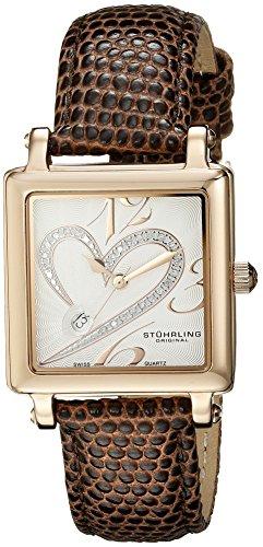 Stuhrling Original Classique 'Courtly' Diamond Swiss 253.1145K2 - Reloj de mujer de cuarzo, correa de piel color marrón