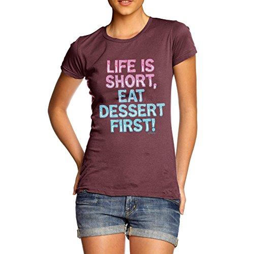 TWISTED ENVY Damen T-Shirt Eat Dessert First Print Burgund