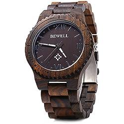 Leopard Shop Bewell Herren Quarz Armbanduhr Holz Römische Zahl Waage Ebenholz