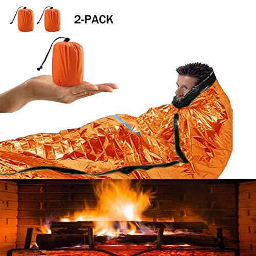 Bivy Bags Sac de Couchage d'urgence LIUSIYU, Film en Aluminium PE pour Sac de Couchage de Survie, Couverture de Sauvetage imperméable légère pour la randonnée en Camping en Plein air