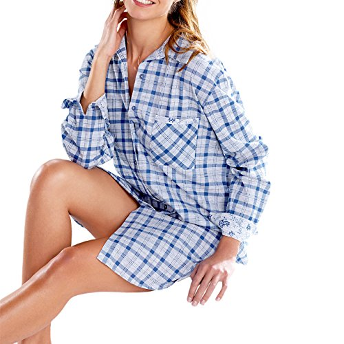 Cybele by Galeja Damen Nachthemd kariert Schlafshirt Gr. 38 Blue Sleepshirt Long Hemd Nachtwäsche + 1 Paar Feinkniestrümpfe (Blau Gewand Kariertes)