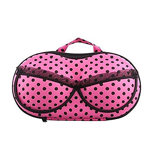Inditradition Travel Lingerie & Undergarments Organizer Bag   With Inbuilt Separation Mesh (Polka Dot Design, Pink)