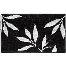 InterDesign - Leaves - Tapete, 86 x 53 cm, Negro/Blanco