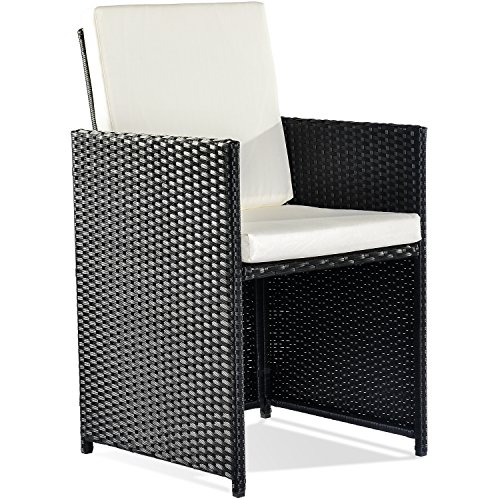 Merax Poly Rattan Lounge Gartenmöbel Set Sitzgruppe klappbare Essgruppe11/9 PCs (9 PCs, Schwarz) Bild 5*