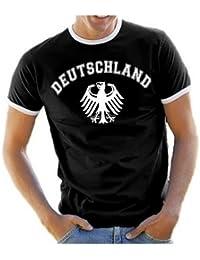Coole-Fun-T-Shirts Herren T-Shirt Deutschland Adler Ringer