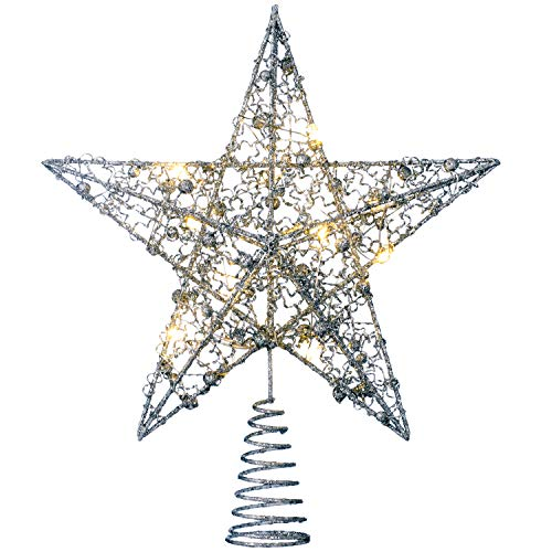 Werchristmas pre-lit sprinky luci led albero di natale a forma di stella, argento, 31cm