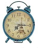 GMMH Tischuhr Nostalgie Antik Vintage Retro Metall Standuhr Dekowecker Uhr in Wecker Design (Blau 54-12)