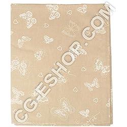 Mantel cuadrado de mesa cuadrado 140 x 140 cm, diseño de mariposas, color blanco roto